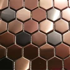 Buy Stainless Steel Backsplash by 11sf Hexagon Mosaic Tile Copper Rose Gold Black Stainless Steel