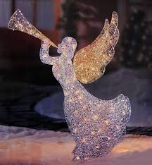 lighted angel christmas decoration 46 lighted glitter sequin 3 d angel with trumpet christmas outdoor