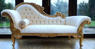 and intricate carved gold bedroom chaise lounge chair with