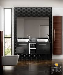 textured black tiles give a contemporary finish with twin pillar