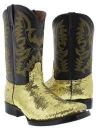 womens size 11 square toe cowboy boots el presidente womens gold sequin and leather cowboy boots with