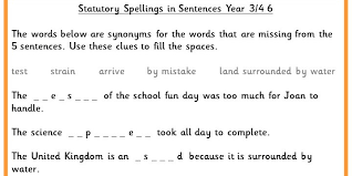 year 3 4 statutory spellings in sentences set 6 classroom secrets