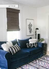 navy blue velvet sofa navy blue sofa comfort works custom slip cover review earnest