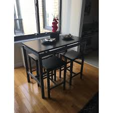 Black Bar Table Black Bar Table W 4 Bar Stools Aptdeco
