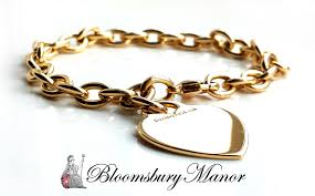gold tag bracelet images Tiffany co 18k gold heart tag charm bracelet 7 inches jpg