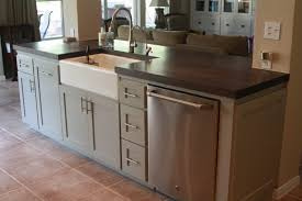 stainless steel countertop with built in sink kitchen islands with farmhouse sink chic granite countertops
