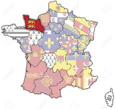 Normandy Map Lower Normandy On Old Map Of France With Flags Of Administrative