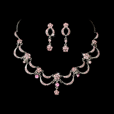 silver pink necklace images Victorian antique silver pink jewelry set for wedding prom jpg