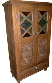Wood Armoire Wardrobe Consigned India Cabinet Carvings Wooden Armoire Beautiful Hand
