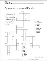 antonyms crossword puzzle free to print pdf file ccss 4 v 5c