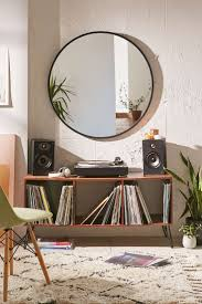 remarkable media console mirror area features small sound system