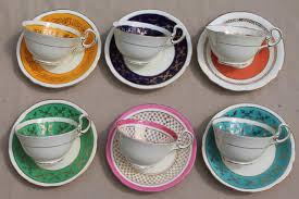 aynsley bone china teacups saucers w colored bands 6