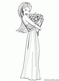 coloring page barbie and elegant dress