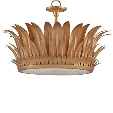 brass flush mount light currey and company botanic crown semi flush mount light brass