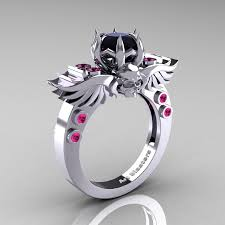 black and pink engagement rings masters classic winged skull 14k white gold 1 0 ct black