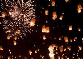 lanterns fireworks in preparation for the most beautiful of holidays amazing photo