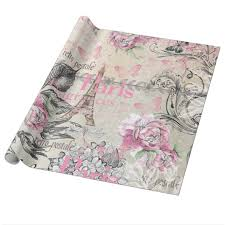 eiffel tower wrapping paper vintage typo black pink floral eiffel tower wrapping paper