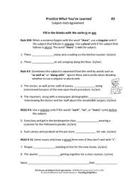 verb agreement review worksheets assessments flash cards gr