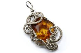 amber necklace pendant images Wire wrapped pendant with amber stone by hyppiechic jpg