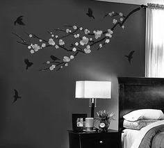I Really Love This White On Dark Nature Silhouette On A Wall It - Paint design for bedrooms