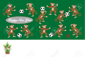 new year s postcards monkeys and footballs and kadomatsu new year s postcards stock