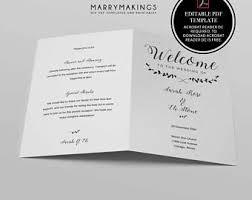 Wedding Reception Program Template Program Template Etsy