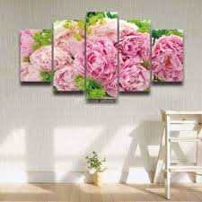 2017 printed pink peonies flower painting on canvas modern wall