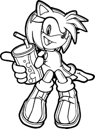 amy rose drink coloring page wecoloringpage
