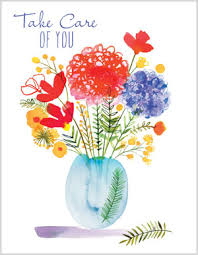 thinking of you flowers vase of flowers thinking of you card