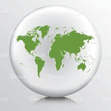 World Map Icon by Round Environment Icon With Green World Map Silhouette Stock