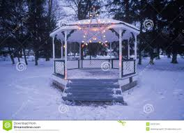 gazebo with lights on in fresh snow in new jersey at christmas