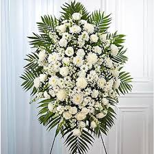 riverside florist white funeral sympathy standing spray flowers expo florist of