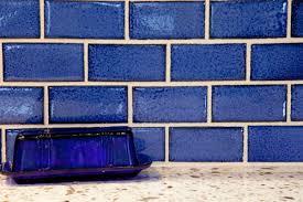 blue subway tile backsplash in kitchen kiln ceramic 2x8 subway