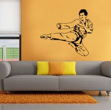 online get cheap karate wall stickers aliexpress com alibaba group karate kick player sports wall stickers home deocr removable vinyl for boys kids room gym background