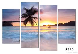 Painting Home by 4 Panel Painting Ocean Sea Art Canvas Wall Hanging Art Art Sunset