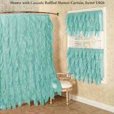 Frilly Shower Curtains Cascade Sheer Voile Ruffled Tier Window Treatment