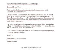 retail salesperson resignation letter samples u2013 download pdf format