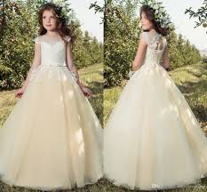 cheap cream cap sleeves lace 2017 flower dresses tulle lace
