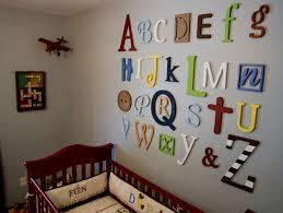 Abc Nursery Decor Unfinished Wooden Alphabet Set In Mixed Fonts And Sizes Wall