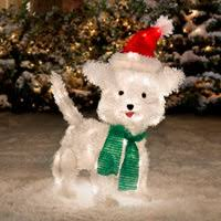 lighted dog christmas lawn ornament lighted tinsel dogs outdoor christmas decorations improvements