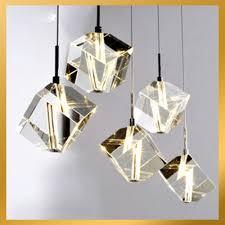 Home Decor Lights Online by 5 Lights Cubic Crystal Chandelier Light Pendant Lamp Ceiling