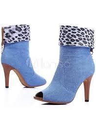 Light Blue High Heels 3 3 4 U0027 U0027 High Heel Light Blue Jean Peep Toe Fashion Booties