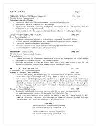 Industrial Engineer Resume Sample by Master Resume For Candidate John Van Horn