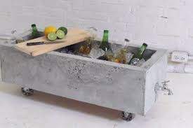 diy concrete planter doubles as an industrial chic drink cooler