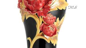 Franz Vase Franz Porcelain Striking Vermillion Peony Vase W Wooden Base