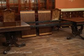 dining room table extension slides walnut inlaid double pedestal dining table extension table