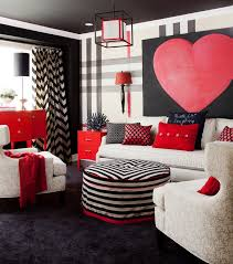 Red And Black Living Room Decor Cream Tufted Chairs With Red And Black Abstract Art Transitional