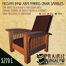 Morris Chair Second Life Marketplace Mission Style Spindled Bow Arm Morris