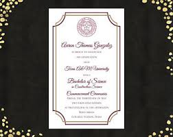 commencement announcements college graduation announcement etsy