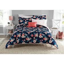 Black Floral Bedding Mainstays Garden Floral Bed In A Bag Walmart Com